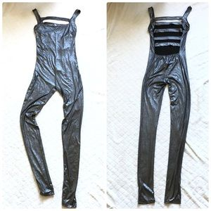 ASOS charcoal metallic jumpsuit open ladder back/4